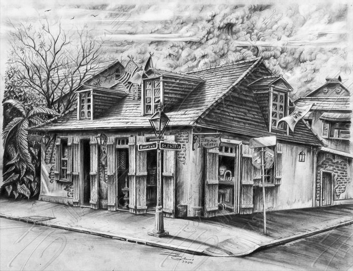 Jean Lafitte S Blacksmith Shop Black And White Big Ez