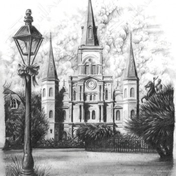 St Louis Cathedral B&W